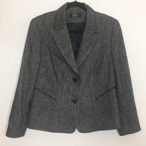 Tribal wool blend blazer jacket gray 8